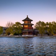 Temple on the Lake, Beijing, China.